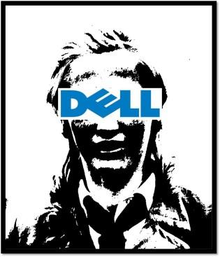 Deutsches Mädel mit Werbung der Chip-Firma Dell im Gesicht