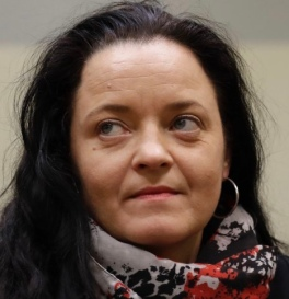 Terror suspect Beate Zschaepe sits in a court room in Munich, Germany, Wednesday, Dec. 20, 2017. German prosecutors said that Zschaepe as the main defendant in the high-profile neo-Nazi trial should receive a life sentence for her alleged role in the killing of 10 people by a group calling itself the National Socialist Underground. (AP Photo/Matthias Schrader, Pool)